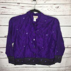 Cold water creek small purple silk shirt jacket